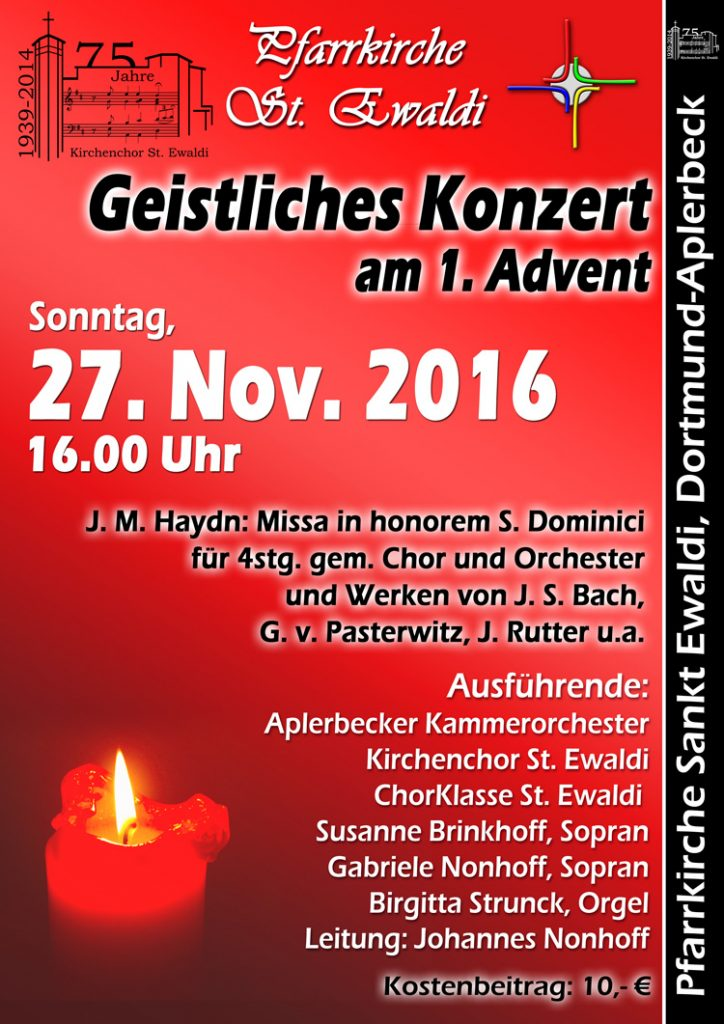 Geistliches Konzert in der Pfarrkirche St. Ewaldi zum 1. Advent